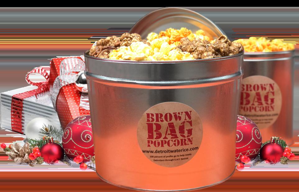 Brown Bag Popcorn Tin